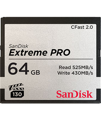 SANDISK EXTREME PRO® CFAST™2.0 64GB MEMORY CARD
