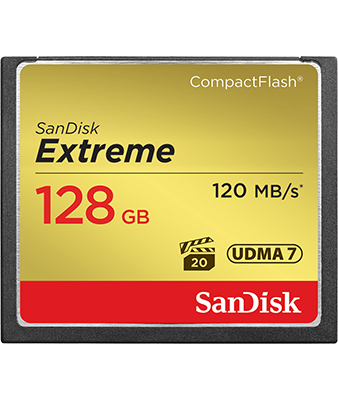 SANDISK EXTREME 128GB 120MB/S COMPACTFLASH MEMORY CARD