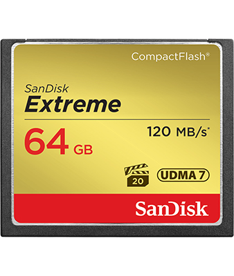 SANDISK EXTREME 64GB 120MB/S COMPACTFLASH MEMORY CARD