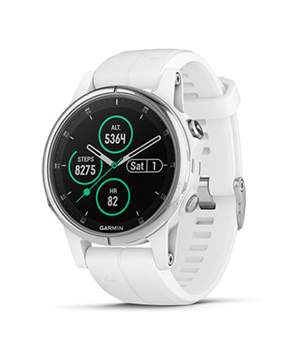 Garmin fenix 5S Plus Sapphire, White with Carrera White Band