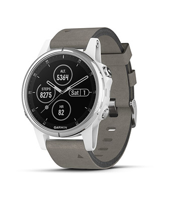 Garmin fenix 5 Plus Sapphire, White with Gray Suede Band