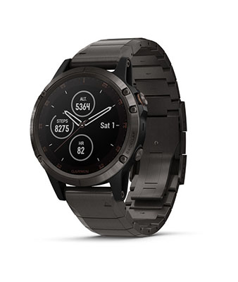 Garmin fenix 5 Plus Sapphire, Carbon Gray DLC Titanium with DLC Titanium Band